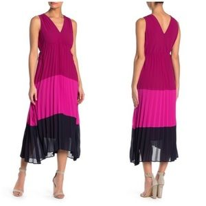 TAYLOR Color-Block Pleated Drawstring Tie Dress 4P